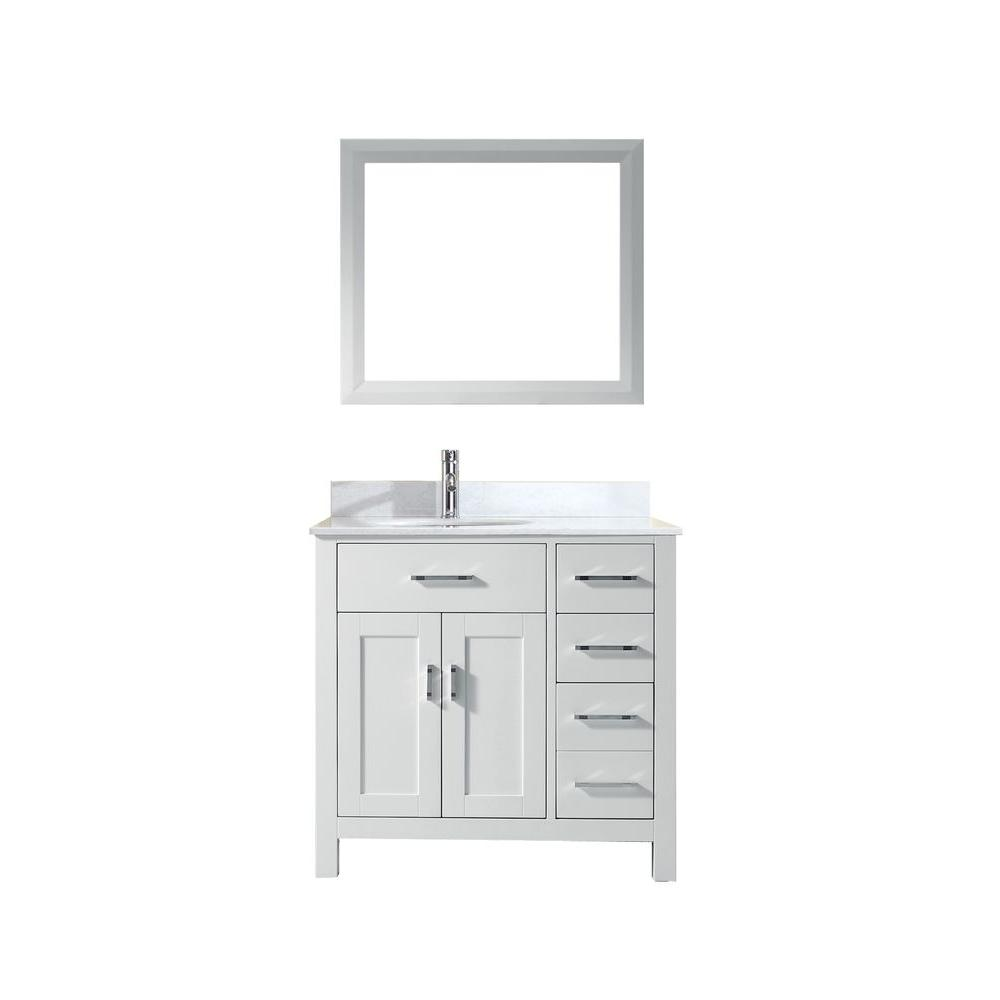 Studio Bathe Kalize 36 In. Vanity In White With Solid Surface Marble Vanity  Top In White And Mirror-KALIZE 36 WHITE-SOLID SURFACE - The Home Depot
