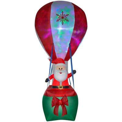 12 ft. Inflatable Santa in Hot Air Balloon with Northern Sky Light Show