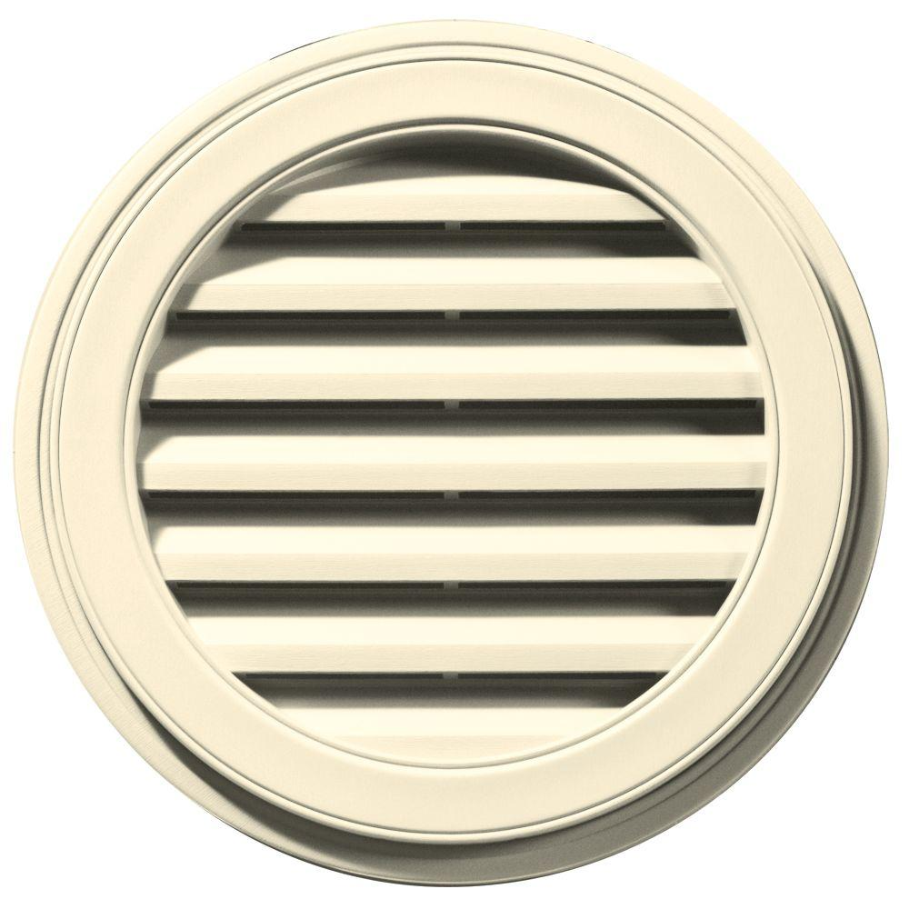 Builders Edge 22 in. Round Gable Vent in Cream