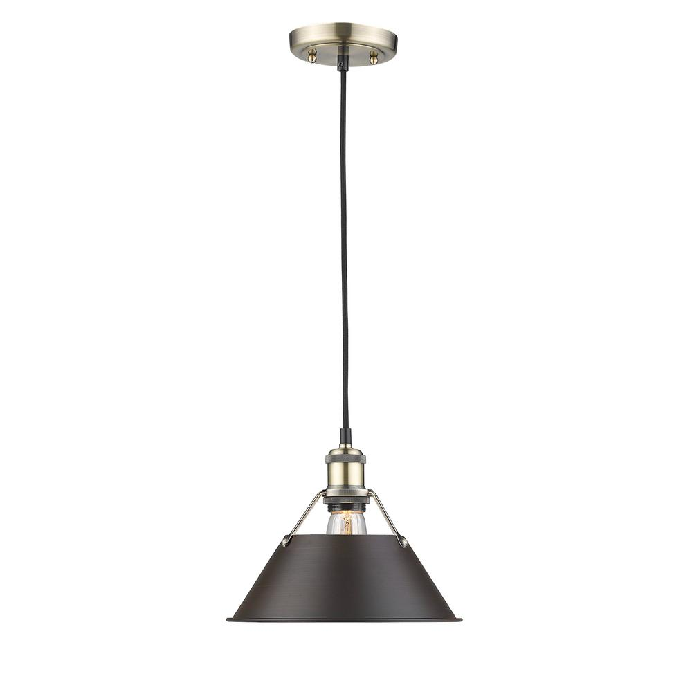 Orwell AB 1-Light Aged Brass Pendant with Rubbed Bronze Shade