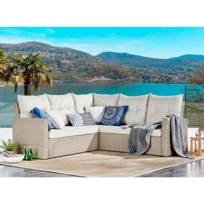Canaan Brown All-Weather Wicker Outdoor Double Corner Sofa with Cream Cushions