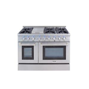 cc6c556bf27 Thor Kitchen 48 in. 6.7 cu. ft. Professional Gas Range in Stainless Steel-HRG4808U  - The Home Depot