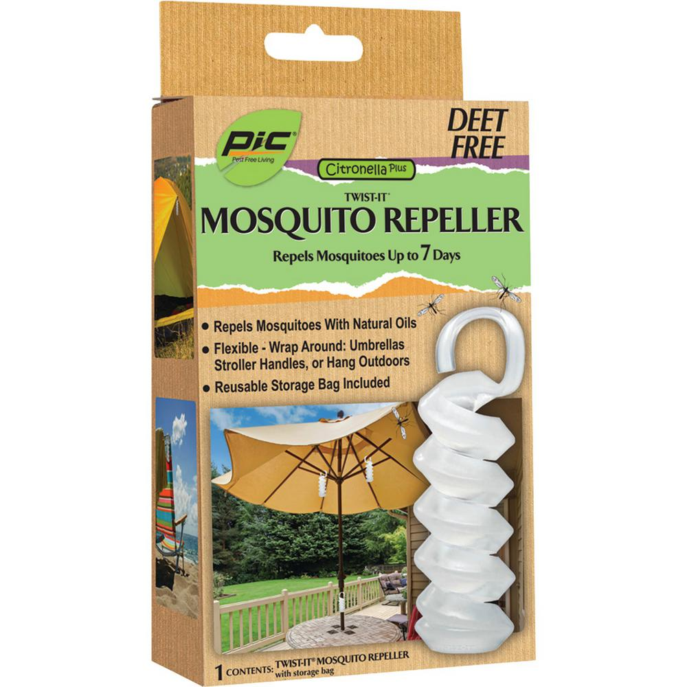 PIC Twist It Mosquito Repeller This mosquito repeller helps repel mosquitos with Citronella Plus. Repels for up to 200 hours. Simply twist it enjoy a mosquito-free time.