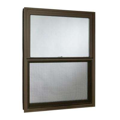 35.5 in. x 47.25 in. Double Hung Aluminum Window with Low-E Glass and Screen, Brown