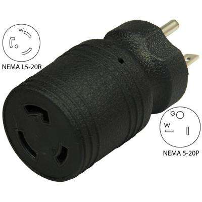 Locking Adapter 20 Amp 5-20P Straight Blade Plug To 20 Amp L5-20R Locking Female Connector