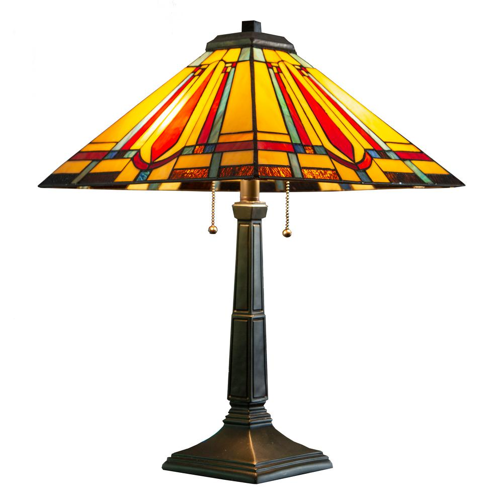 River of Goods 23.5 in. Multi-Colored Table Lamp with Stained Glass Mission Style Shade