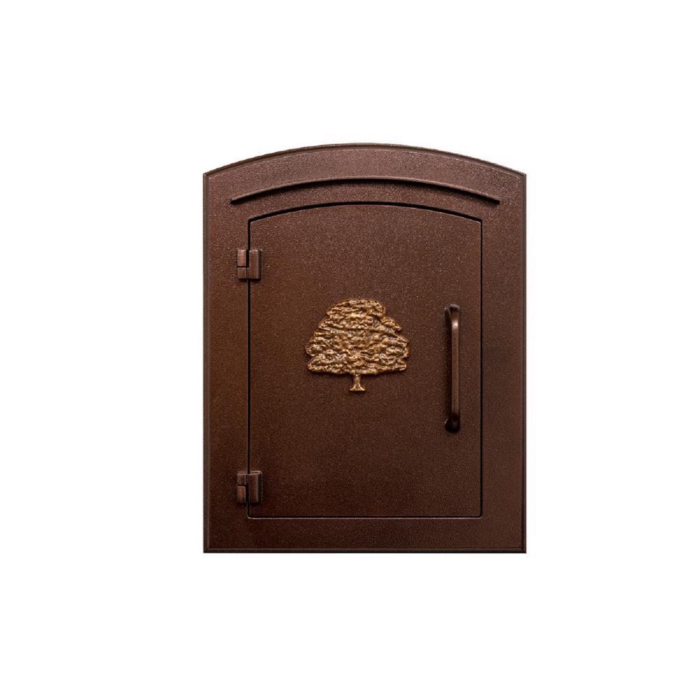 Manchester Antique Copper Column Mount Non-Locking Mailbox with Decorative Oak Tree Logo