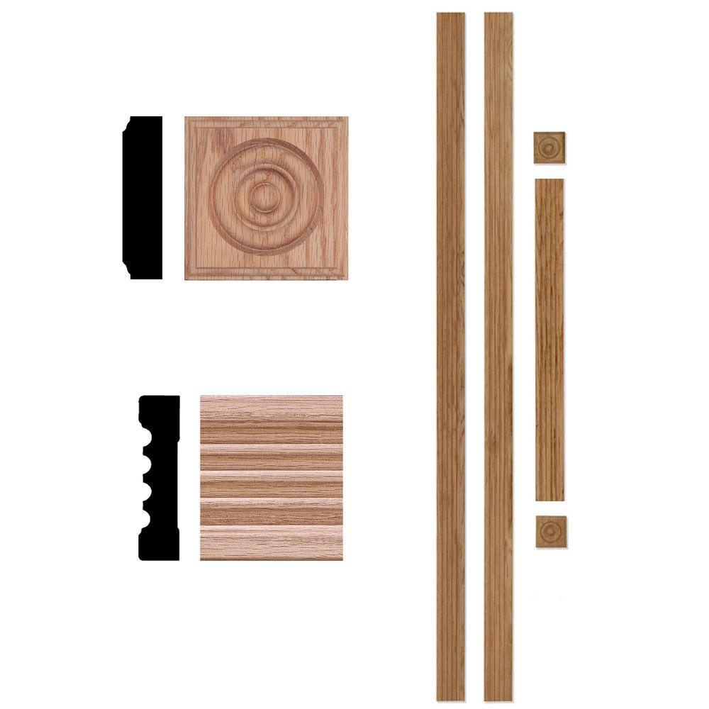 House of Fara 3/4 in. x 3 in. x 7 ft. Oak Door Trim Casing Set