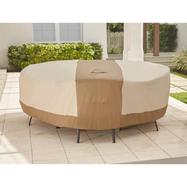 Hampton Bay Round Table Outdoor Patio with Chair Cover