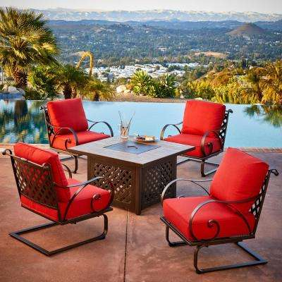 Sienna 5-Piece Metal Patio Fire Pit Conversation Set with Red Cushions