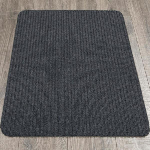 Ottomanson Lifesaver Collection Dark Gray 2 Ft X 3 Ft Utility Ribbed Indoor Outdoor Runner Rug Srt702 2x3 The Home Depot