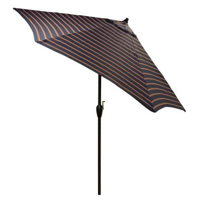9 ft. Aluminum Patio Umbrella in Midnight Ruby Stripe with Tilt