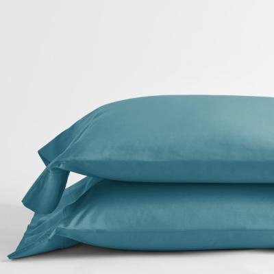 Company Cotton Mineral Blue Solid 300-Thread Count Percale Standard Pillowcase (Set of 2)