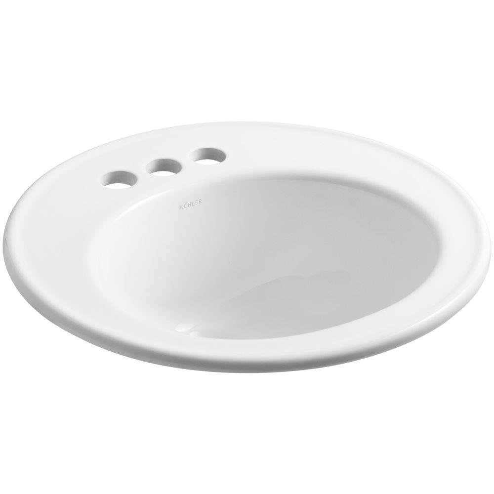 Kohler Brookline Top Mount Vitreous China Bathroom Sink In White With Overflow Drain