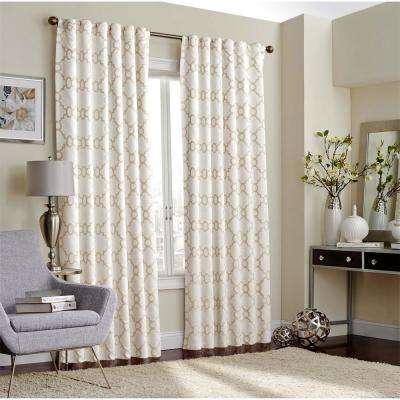 Correll Blackout Window Curtain Panel in Ivory - 52 in. W x 108 in. L