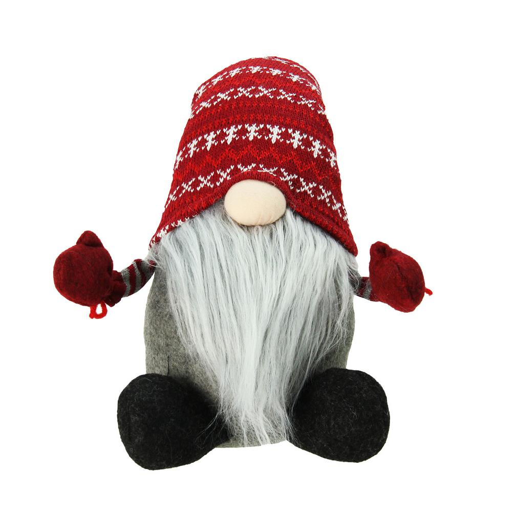 Christmas Gnome.Northlight 22 In Plush Red And Gray Nordic Santa Christmas Gnome Tabletop Figure