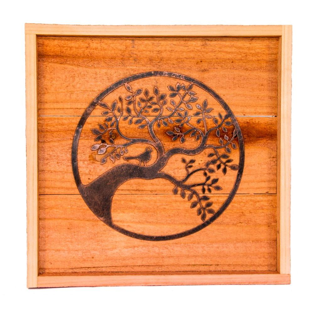 Hollis Wood Products 18 In X 18 In Wood Wall Art With Oak Tree Design