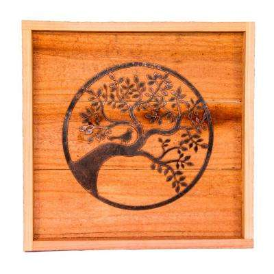 18 in. x 18 in. Wood Wall Art with Oak Tree Design