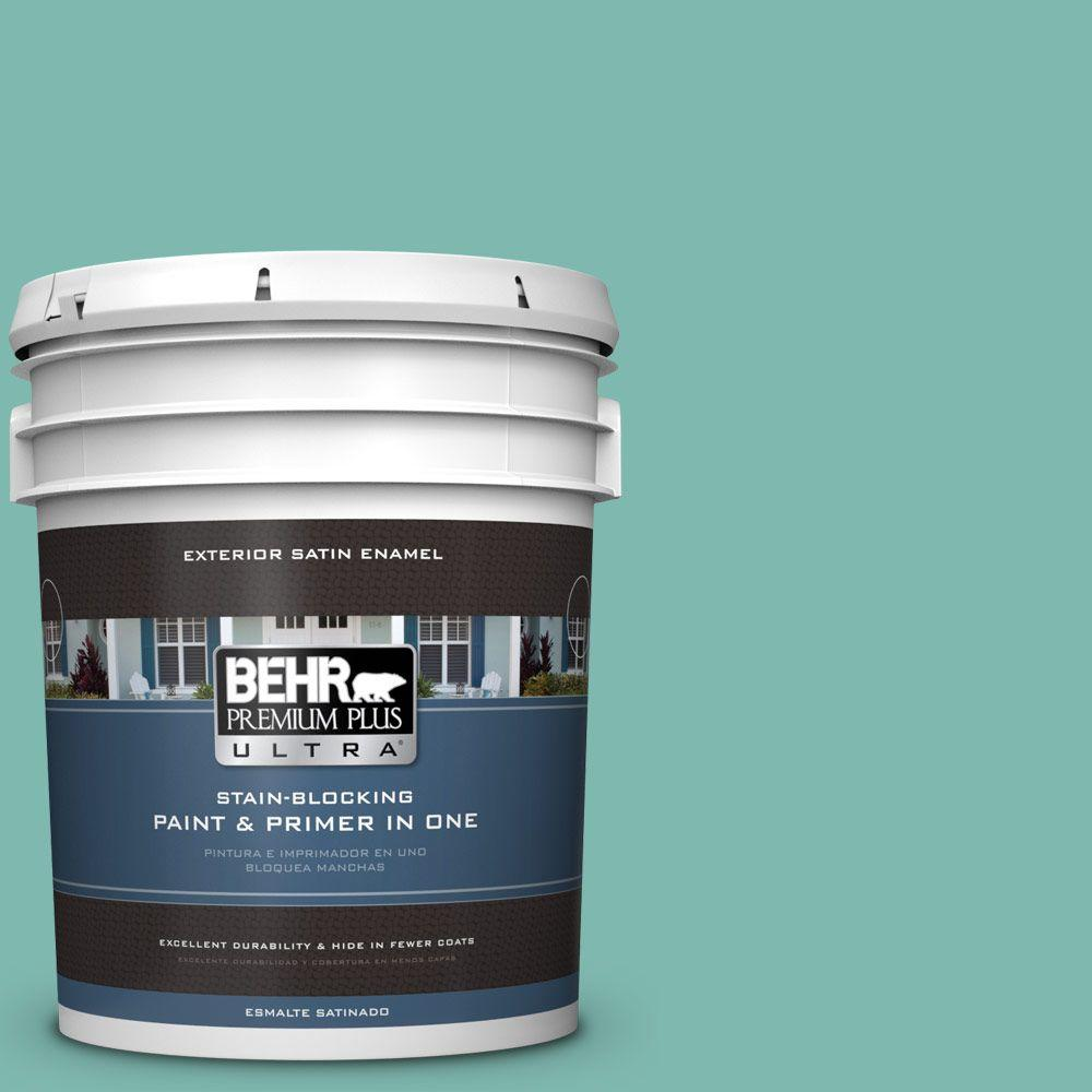 BEHR Premium Plus Ultra 5-gal. #490D-5 Winter Surf Satin Enamel Exterior Paint