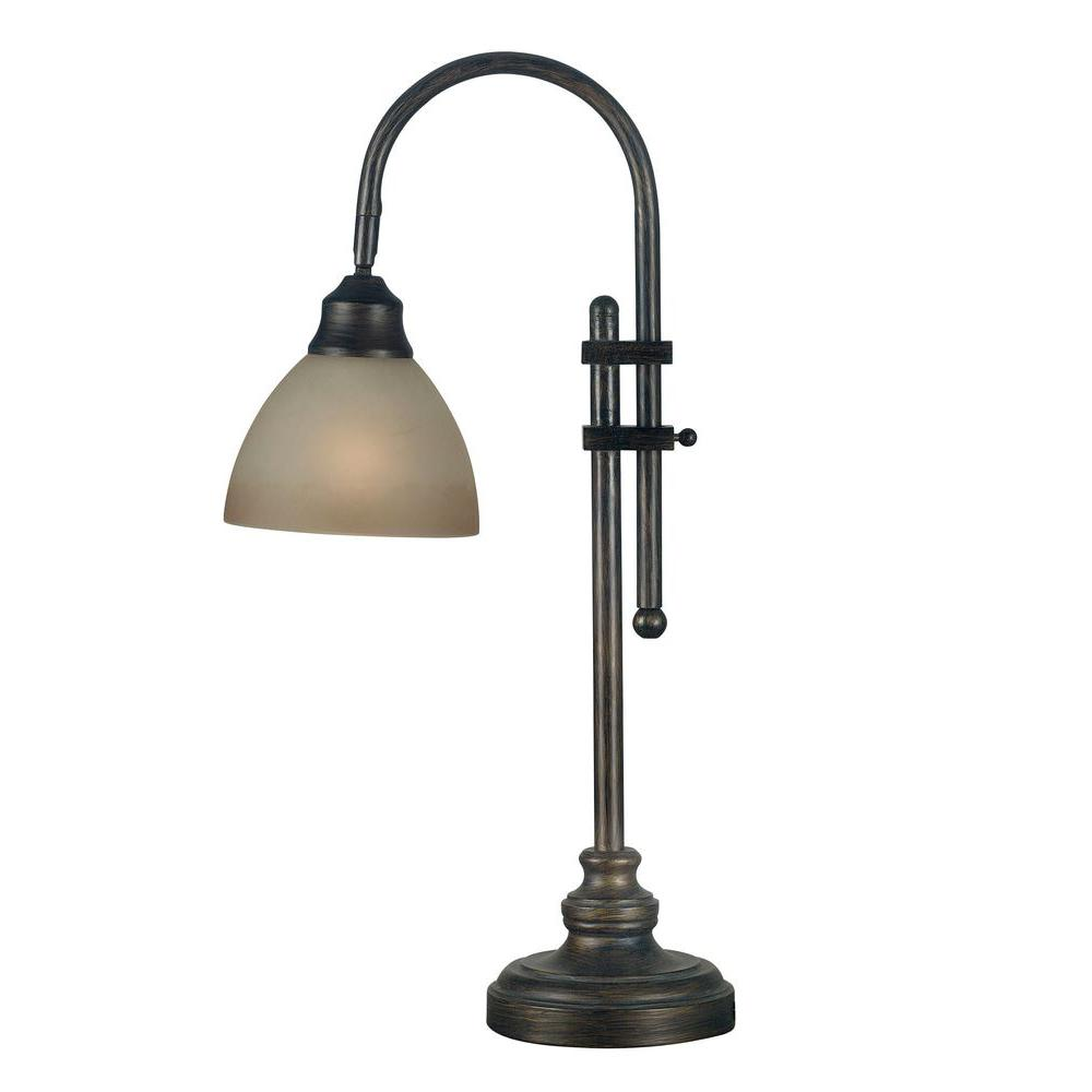 kenroy home callahan 28 in bronze heritage desk lamp 20994bh the rh homedepot com bronze bankers desk lamp antique bronze desk lamp