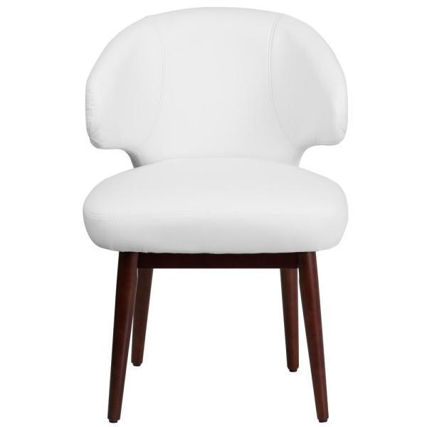 Comfort Back Series White Leather Reception-Lounge-Office Chair with Walnut Legs