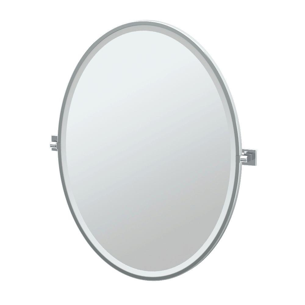 Elevate 28 in. x 33 in. Framed Single Large Oval Mirror