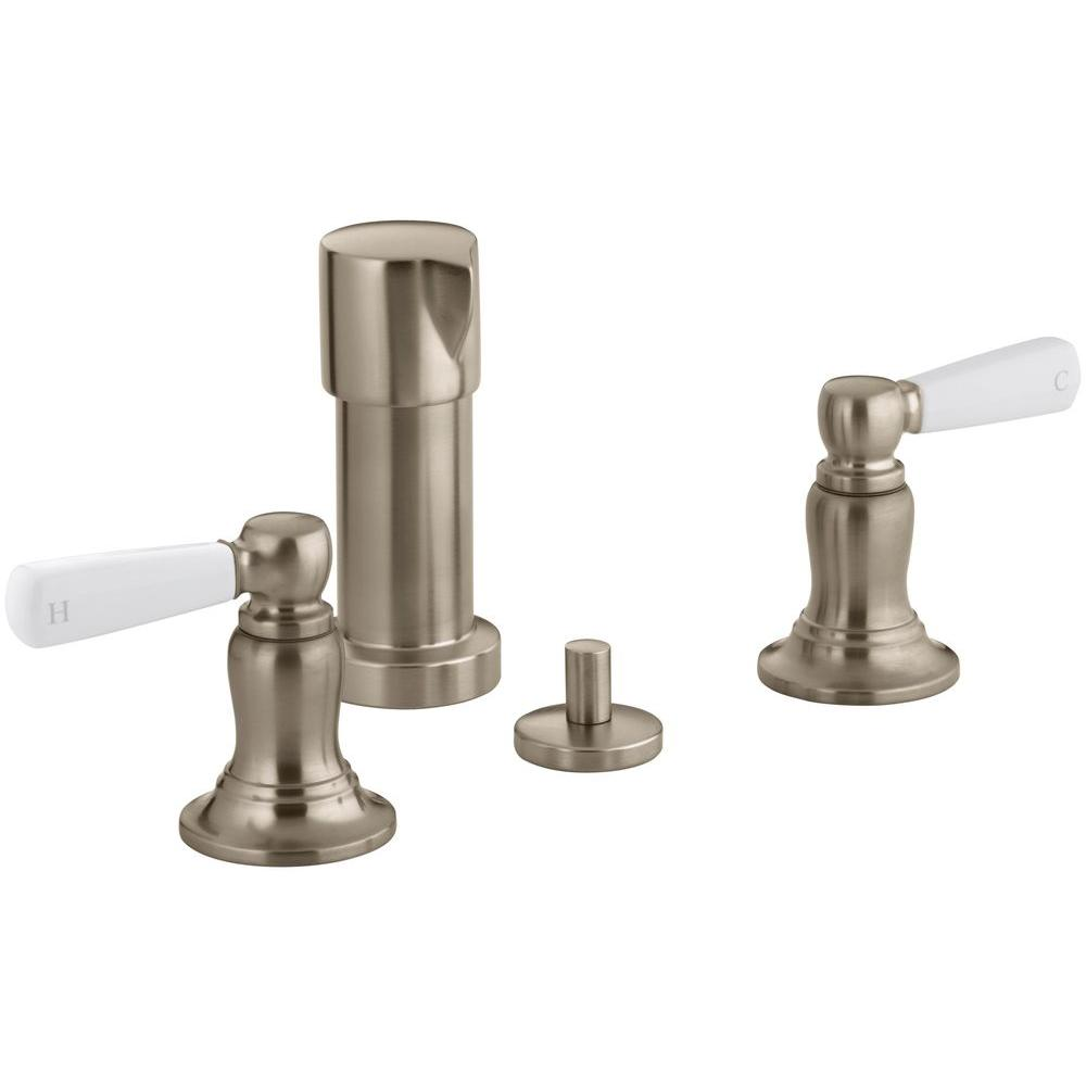 KOHLER Bancroft 2-Handle Bidet Faucet in Vibrant Brushed Bronze with White Ceramic Lever Handles
