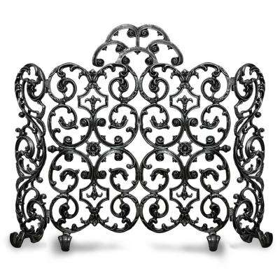 Avalon Matte Black 2-Panel 46 in. W Fireplace Screen with Arch and Sides