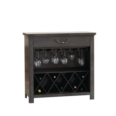 Harper's Branch Weathered Gray Wine Rack with Bottle and Stemware Storage