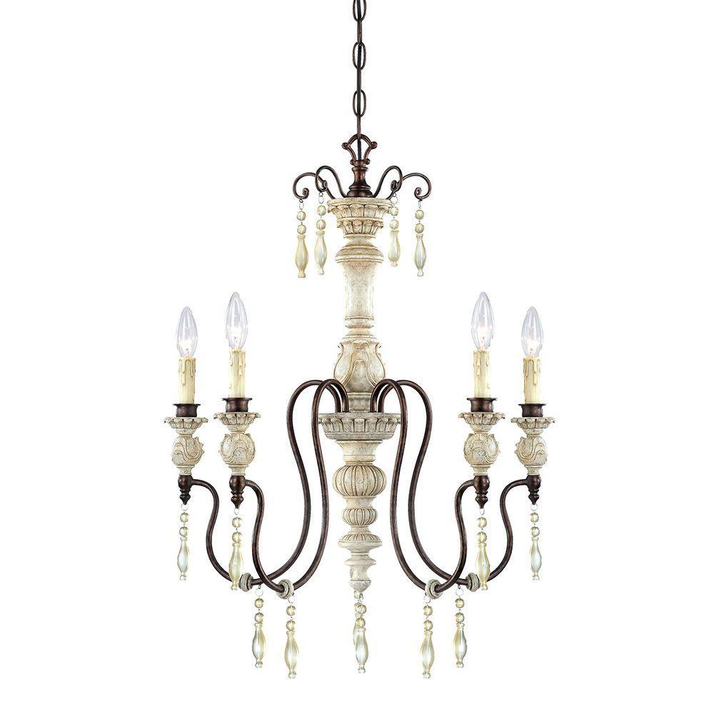 5-Lights Antique White/Bronze Chandelier