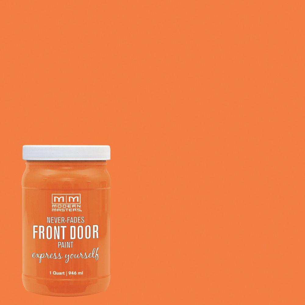 Express Yourself 1 qt. Satin Energetic Orange Water-Based Front Door Paint