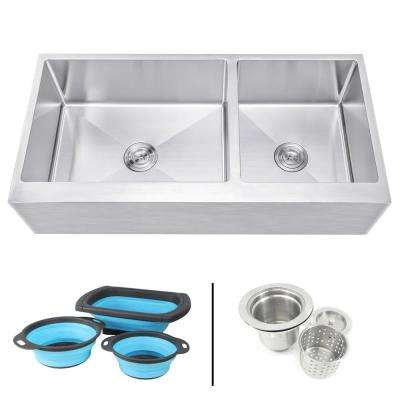Farmhouse Apron 16-Gauge Stainless Steel 42 in. Flat Front 60/40 Offset Double Bowl Kitchen Sink w Silicone Colanders