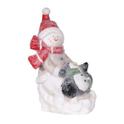 Winter Snowman and Penguin Statue, Indoor and Outdoor Festive Holiday Decor