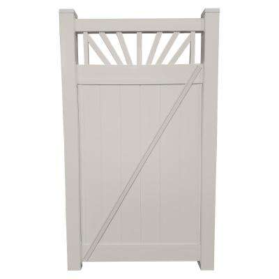 Annapolis 3.7 ft. W x 7 ft. H Tan Vinyl Privacy Fence Gate