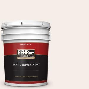Behr Premium Plus 5 Gal W B 110 Soft Lace Flat Exterior Paint And Primer In One 405005 The Home Depot