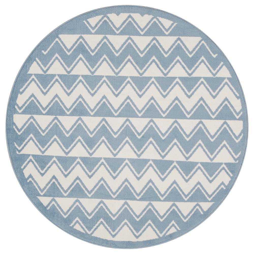 Whimsical White/Light Blue 5 ft. Round Indoor Area Rug