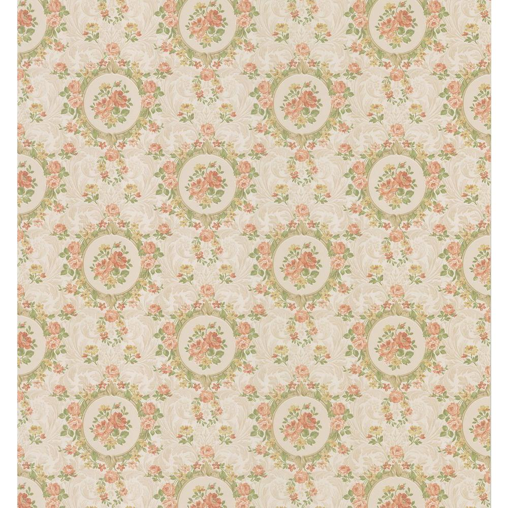 Brewster 8 in. W x 10 in. H Rose Scroll Cameo Wallpaper Sample-DISCONTINUED