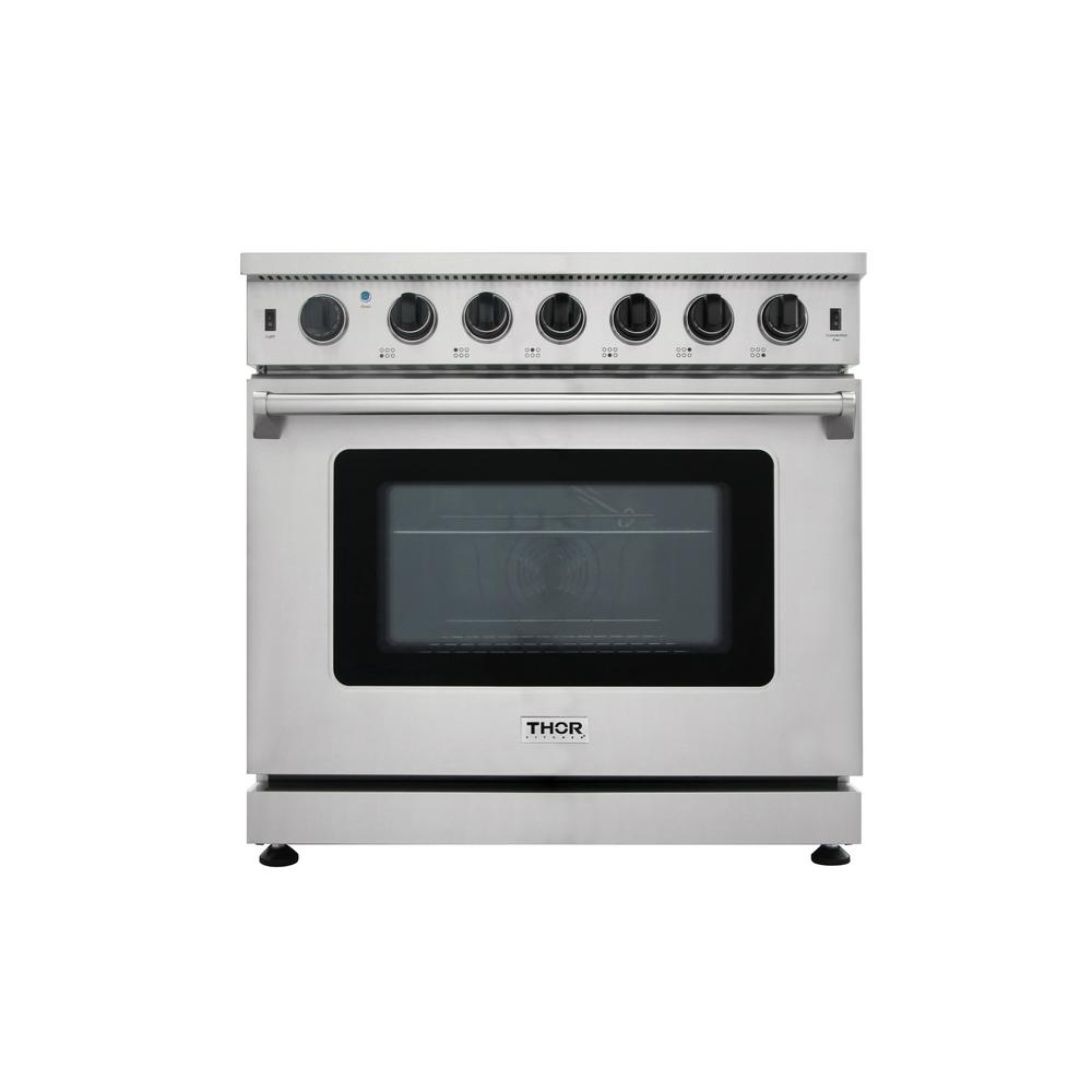 Thor Kitchen 36  6.0 Cu. Ft Single Oven Professional Gas Range in Stainless Steel (Silver) This 36 in. Professional Style Gas Range will fulfill all your cooking desires. Main features include a total of 78,000 BTU's on the cooktop. The cooktop comes with a total of 6 burners which can accommodate for a large family. Includes One 6.0 cu ft. 18,500 BTU oven which contains a commercial convection fan along with a 10,000 BTU Oven Broiler. Continuous grating to facilitate the movement of large cookware. Color: Stainless Steel.