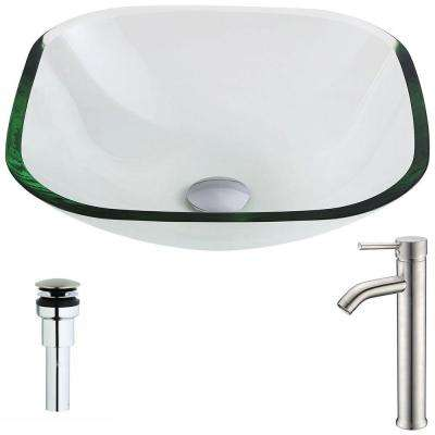 Cadenza Series Deco-Glass Vessel Sink in Lustrous Clear with Fann Faucet in Brushed Nickel