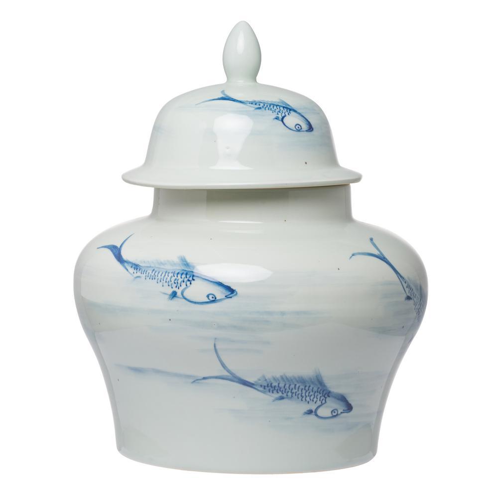 Koi Gloss Blue, White Large Ginger Jar