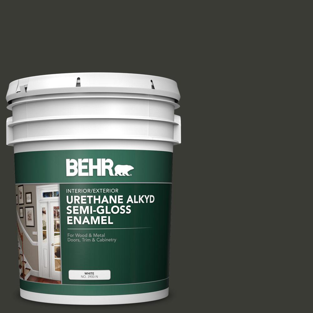 5 gal. #ECC-10-2 Jet Black Urethane Alkyd Semi-Gloss Enamel Interior/Exterior Paint