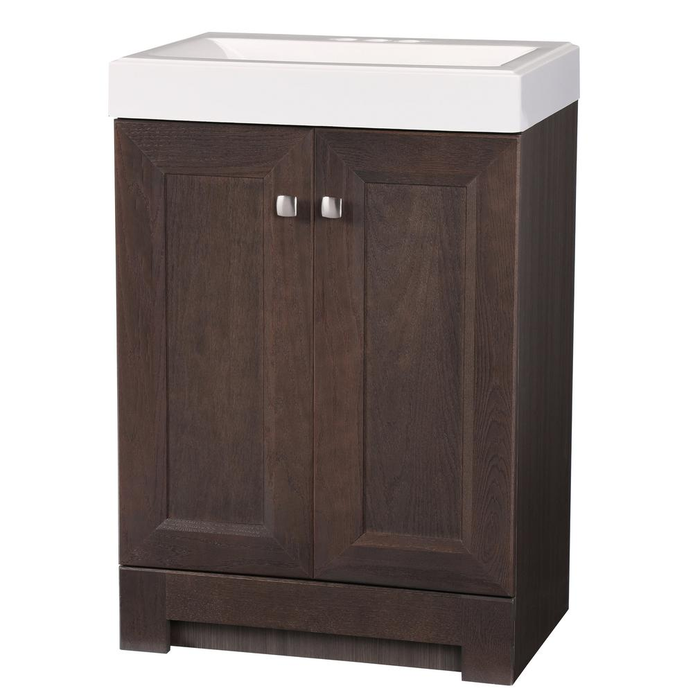 GLACIER BAY Shaila 24.5 in. W Bath Vanity in Gray Oak with Cultured Marble Vanity Top in White with White Sink