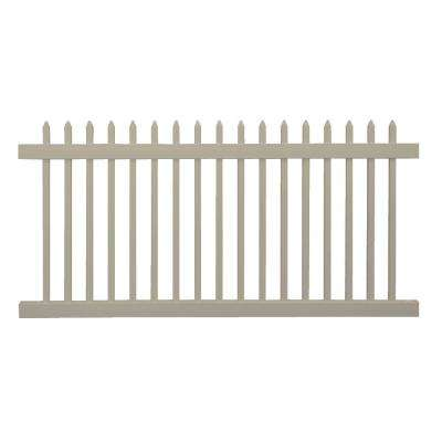Abbington 4 ft. H x 8 ft. W Khaki Vinyl Picket Fence Panel Kit