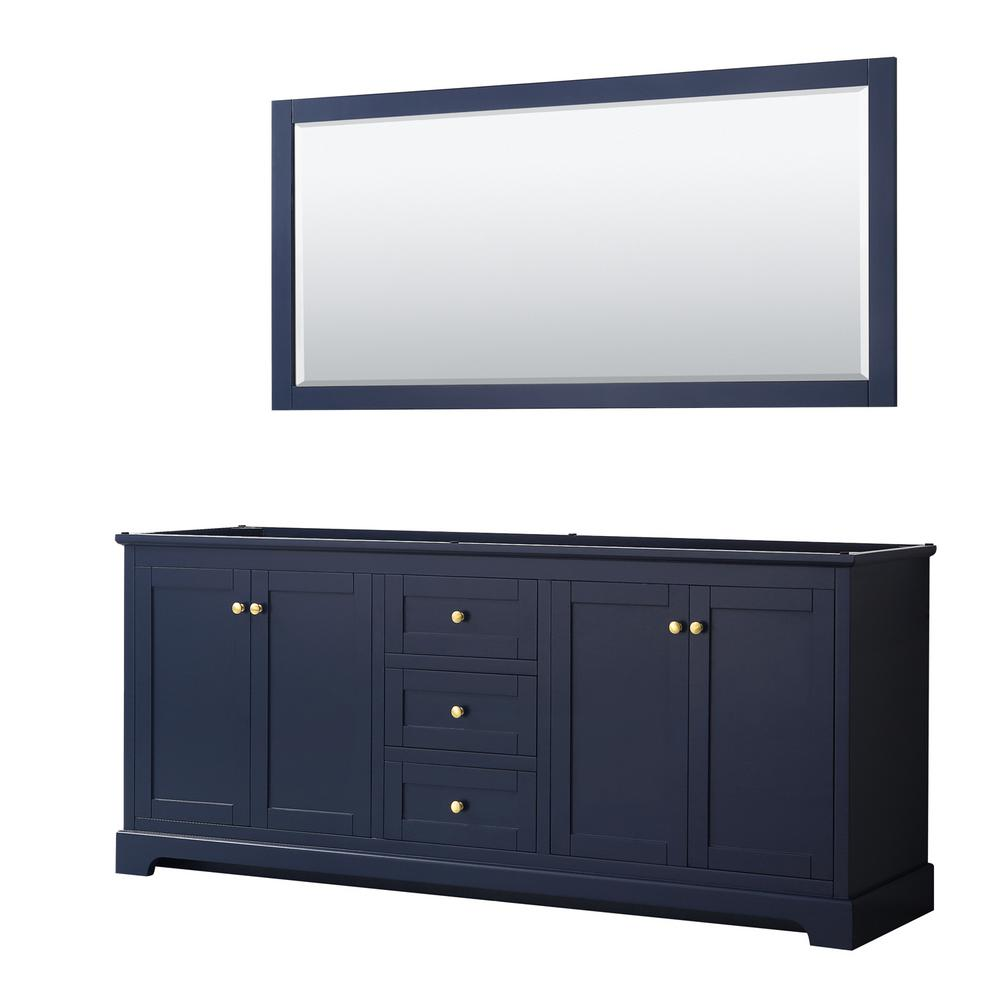 Wyndham Collection Avery 79 in. W x 21.75 in. D Bathroom Vanity Cabinet Only with Mirror in Dark Blue
