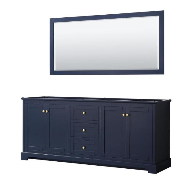 Avery 79 in. W x 21.75 in. D Bathroom Vanity Cabinet Only with Mirror in Dark Blue