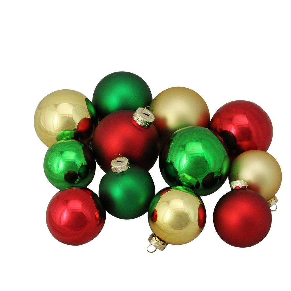 Northlight 2 5 In To 3 25 In Red Green And Gold Shiny And Matte Glass Ball Christmas Ornaments 96 Count