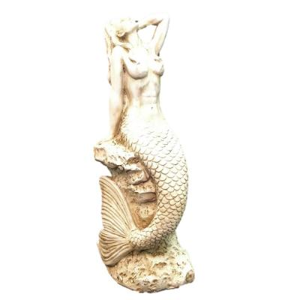 20 in. Antique White Sexy Mermaid Sitting on Coastal Rock Beach Nautical Statue