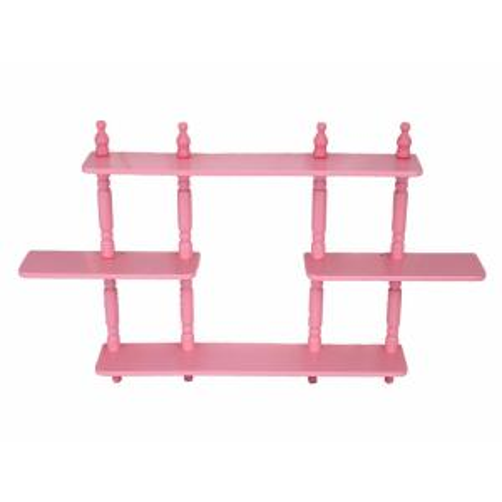 17.7 in. x 3.54 in. 3-Tier Pink Kid's Wall Shelves