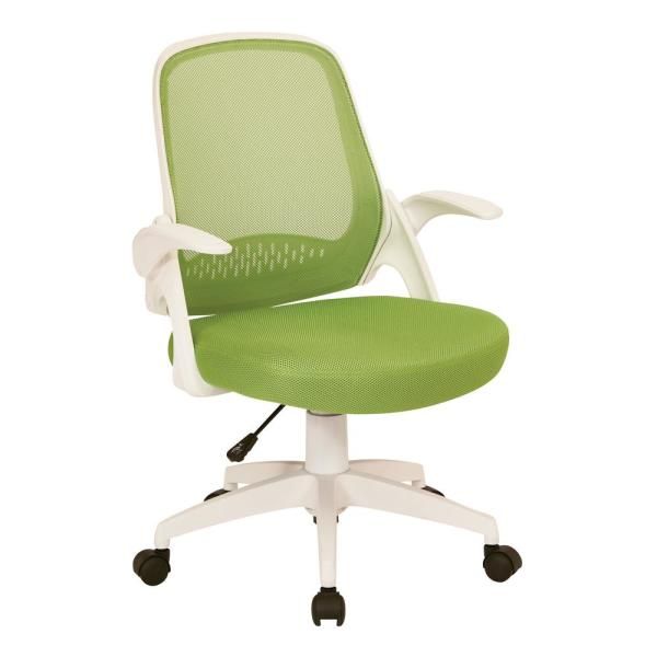 OSP Home Furnishings Jackson Green Mesh and White Frame Office Chair with Flip Arms