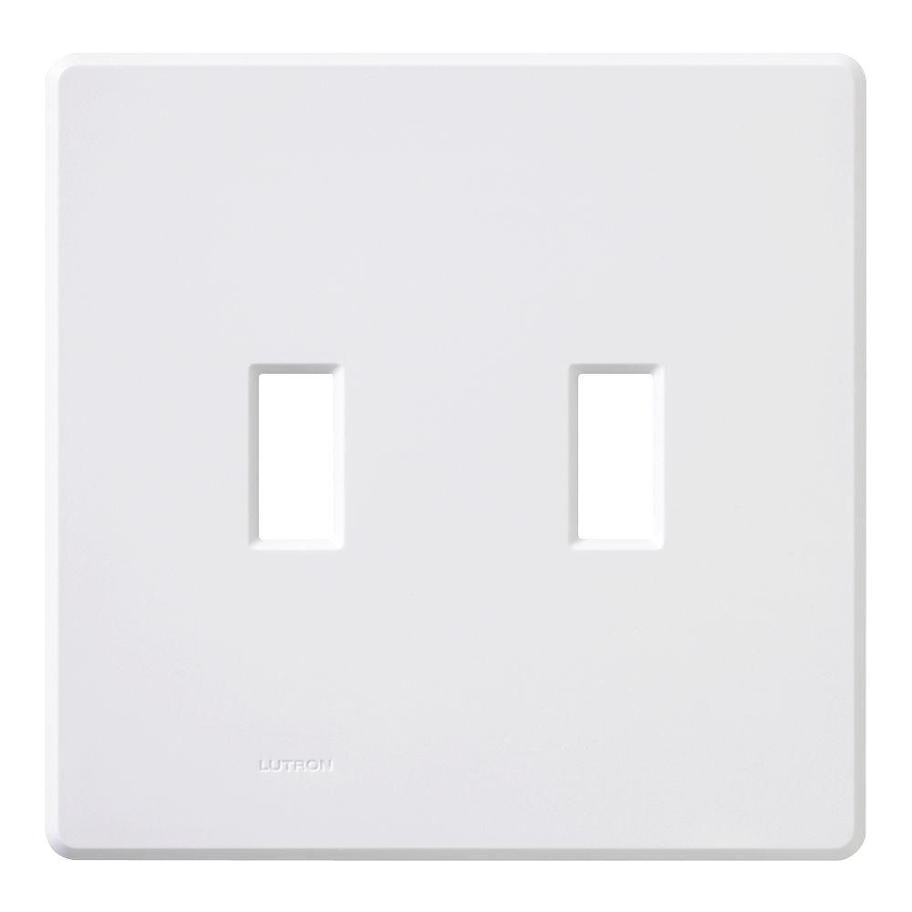 Lutron White 2 Gang Toggle Wall Plate 1 Pack Fg 2b Wh The Home Depot